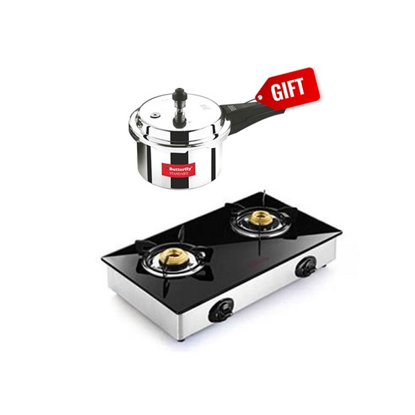 Picture of Butterfly Stove 2B Jet Glass Top+Butterfly 3L Pressure Cooker