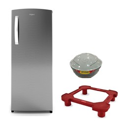 Picture of Whirlpool Fridge 215 IMPRO Premier 3S Cool Illusia + Stabilizer LifeGuard 500W Jayam + Plastic SuperDLX Fridge Stand