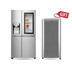 Picture of LG 668 Litres GCX247CSAV Side By Side Refrigerator+Free Gift LG 190 Litres GLB201RPZD Direct Cool Single Door Refrigerator